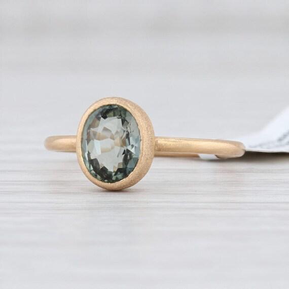 Green Tourmaline Ring, 18k Gold Ring, Yellow Gold