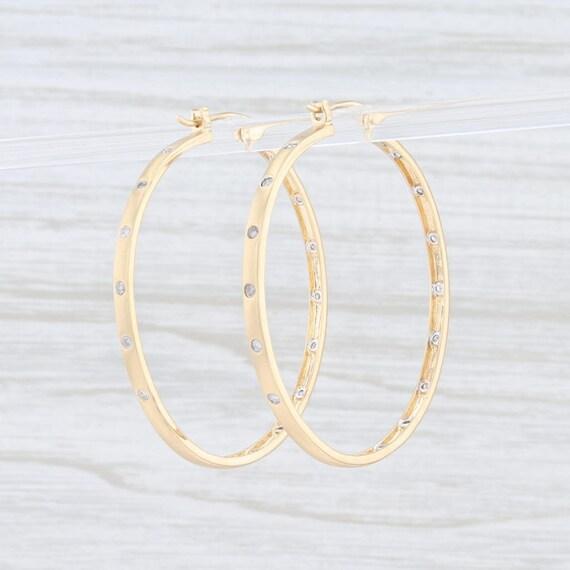 Diamond Hoop Earrings, Yellow Gold Earrings, Snap… - image 3