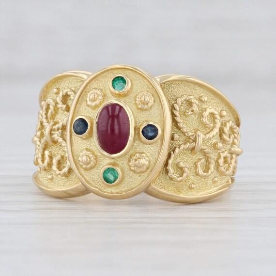 Ornate Gemstone Ring, Gold Gemstone Ring, Size 9.2