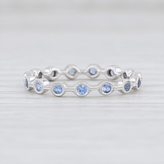 Blue Sapphire Stackable Ring, Platinum Sapphire Ri