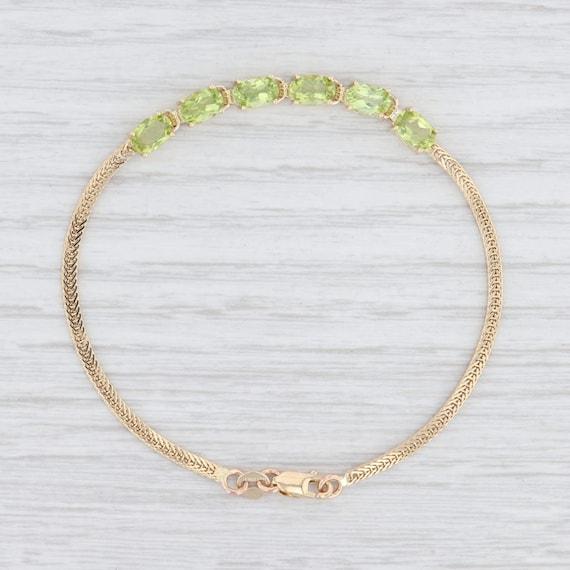Peridot Bracelet, Yellow Gold Bracelet, Wheat Chai