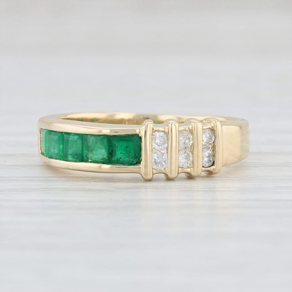 Emerald and Diamond Ring, Yellow Gold Emerald Ring
