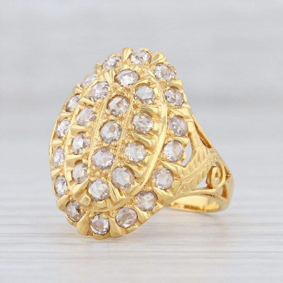 Diamond Cocktail Ring, Gold Ring, Size 7.25 Ring,