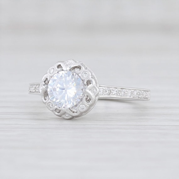 Halo Semi Mount Engagement Ring, Floral Halo Ring,