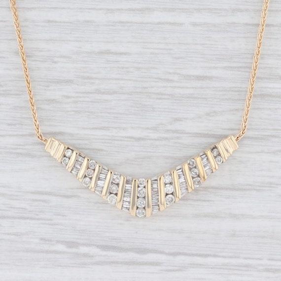 Stationary Diamond Necklace, Diamond V Necklace, G