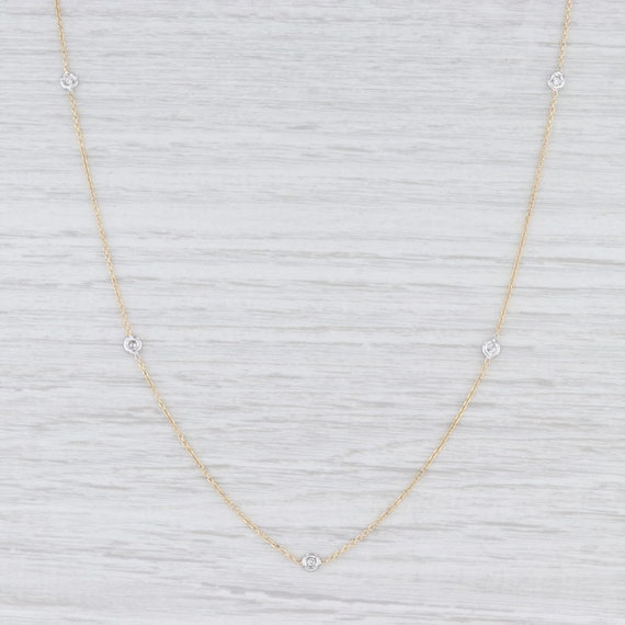 Diamond Station Necklace, Yellow Gold Necklace, Ca