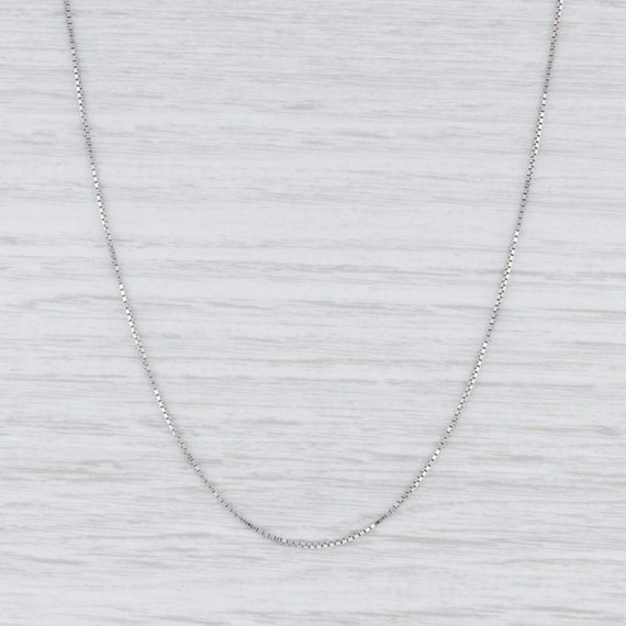 "Box Chain Necklace, White Gold Necklace, 18"" Neckl"