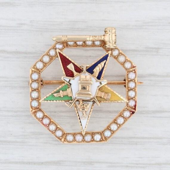 Order Eastern Star Pin, Yellow Gold Masonic Pin, M