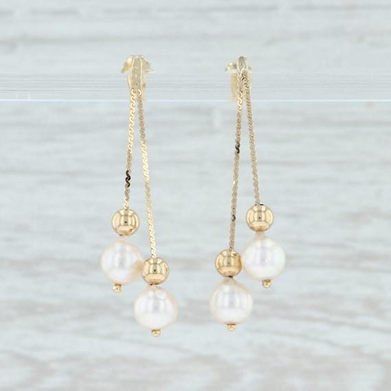 Cultured Pearl Drop Earrings, Gold Pearl Earrings,