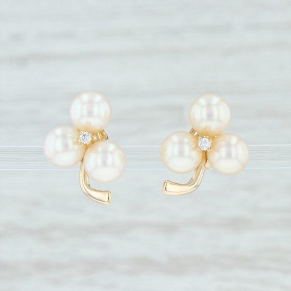 Pearl Flower Earrings, Cultured Pearl & Diamond Fl