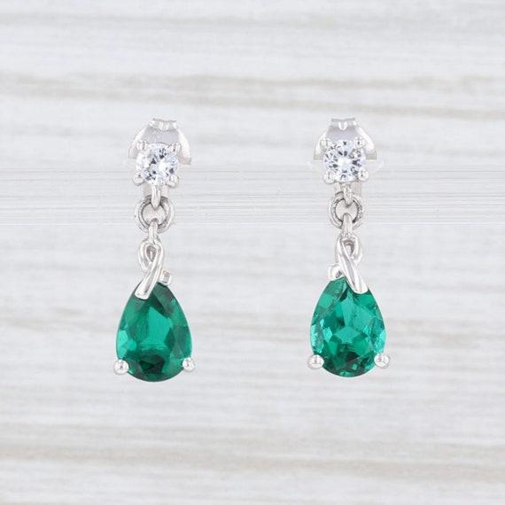 Emerald Earrings, Drop Earrings, White Gold Earrin