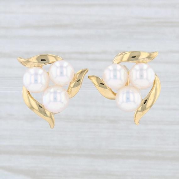 Mikimoto Pearl Earrings, Earrings with Box, Gold P