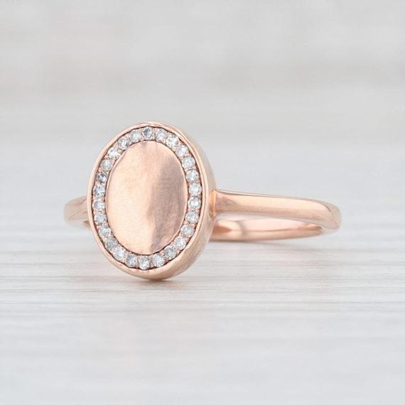 Diamond Halo Ring, Diamond Signet Ring, Rose Gold