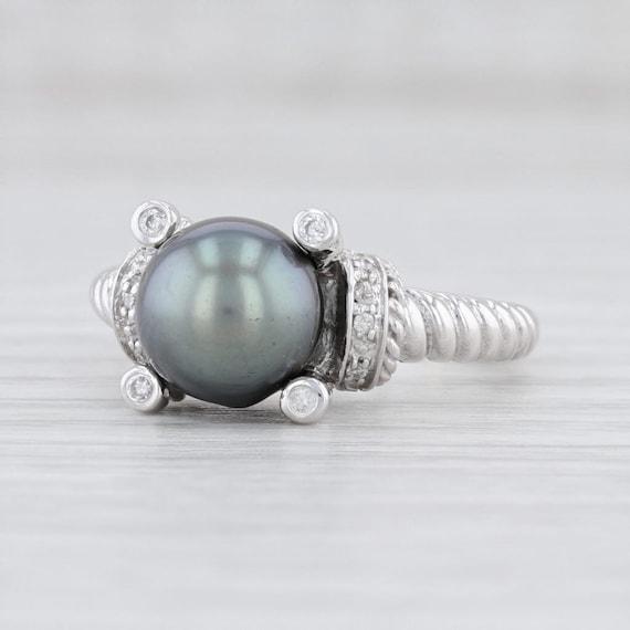 Cultured Pearl Ring, Gray Pearl Ring, Pearl & Diam