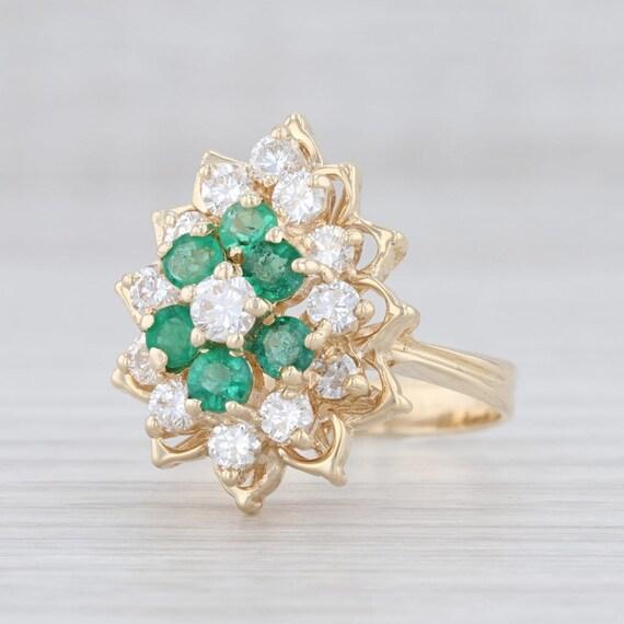 Emerald & Diamond Ring, Gemstone Flower Ring, Yell