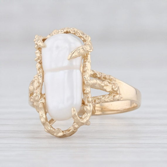 Baroque Pearl Ring, Freshwater Pearl Ring, Yellow