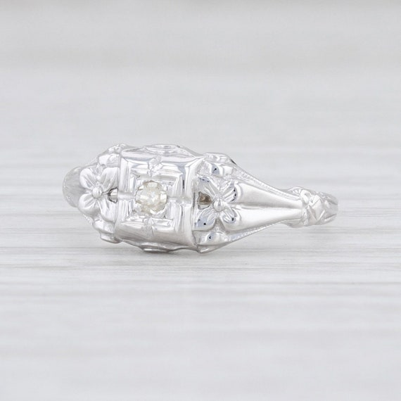 Vintage Diamond Ring, Floral Diamond Ring, White G