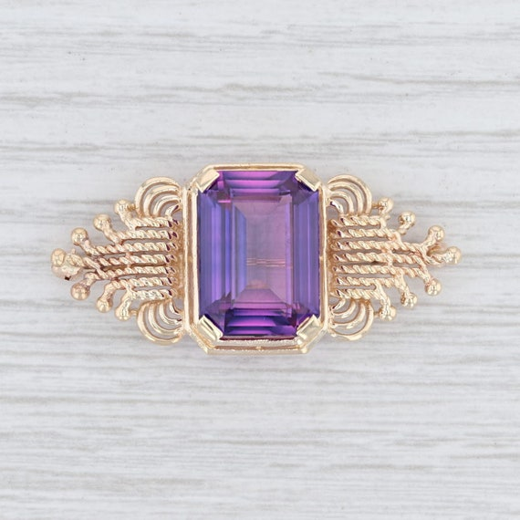 Vintage Brooch, Purple Sapphire Brooch, Yellow Gol