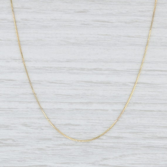 """Box Chain Necklace, Yellow Gold Necklace, 16"""" Chai"""
