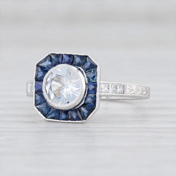 Sapphire Halo Engagement Ring, Blue Sapphire Ring,