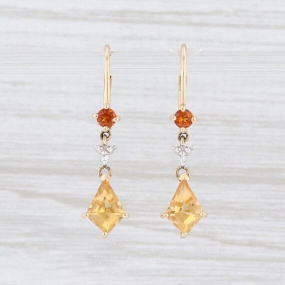 Citrine & Diamond Earrings, Drop Earrings, Yellow