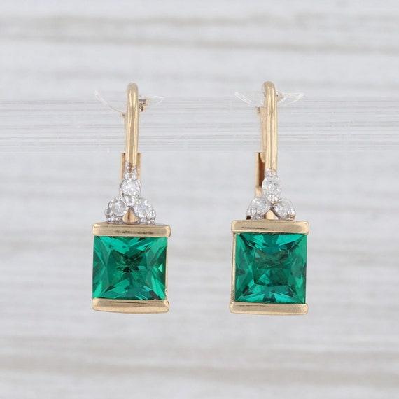 Emerald & Diamond Earrings, Emerald Drop Earrings,