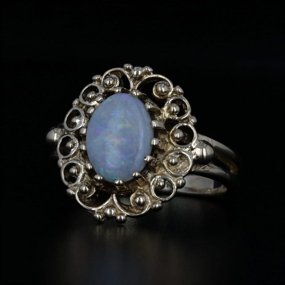 Ornate Opal Ring, Vintage Opal Ring, Yellow Gold R