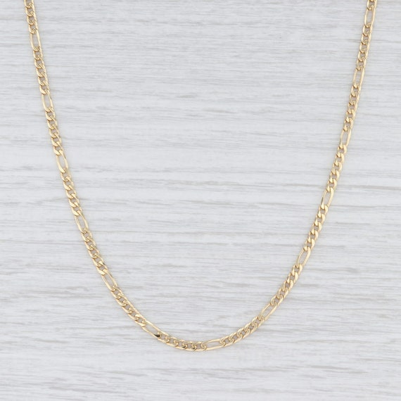 Figaro Chain Necklace, Yellow Gold Necklace, 19.25