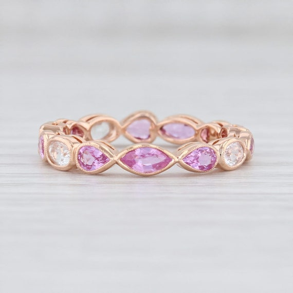 Pink White Sapphire Ring 14k Rose Gold Size 6.5 St