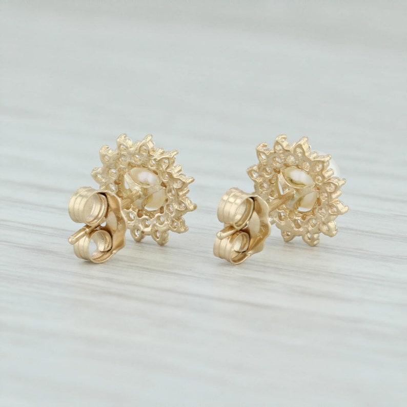 CZ Stud Earrings Pearl Flower Earrings Pearl Stud Earrings Pearl Halo Earrings CZ Halo Earrings Yellow Gold Studs Halo Stud Earrings