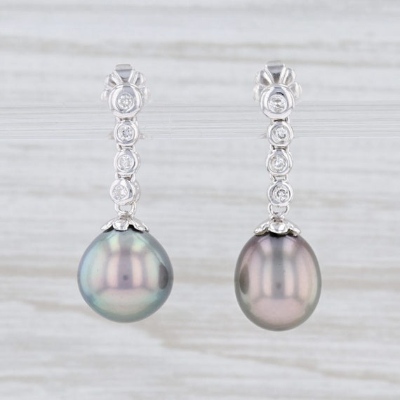 Na Hoku Earrings, Gray Pearl Earrings, Pearl and D
