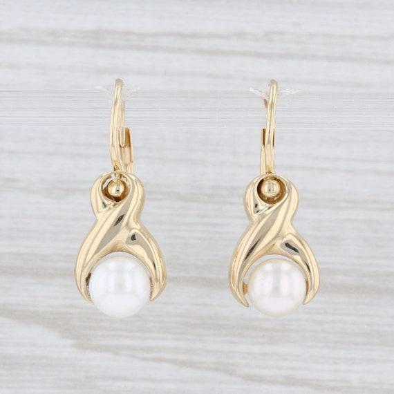 Solitaire Pearl Earrings, Pearl Drop Earrings, Yel