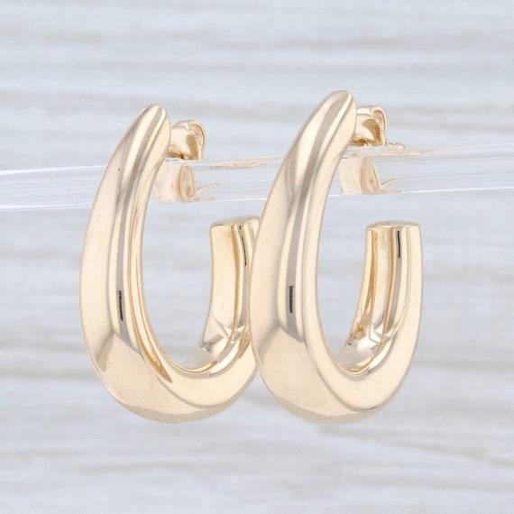 Oval Hoop Earrings, Yellow Gold Hoops, Pierced Ea… - image 2