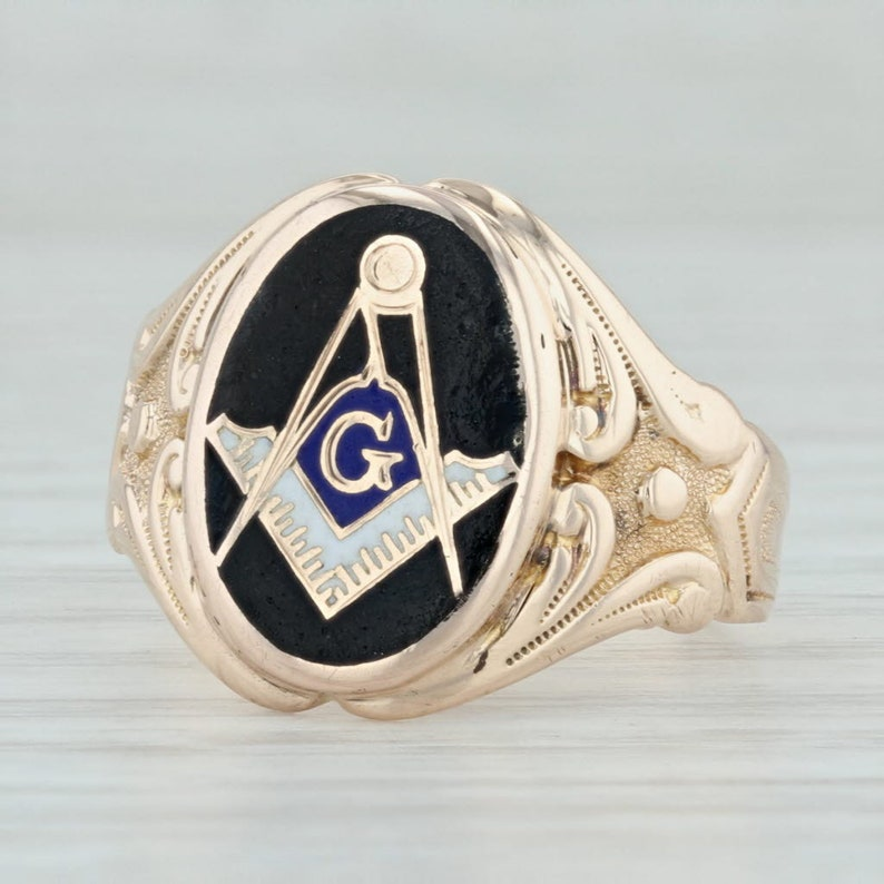 Antique Masonic Ring - 10k Yellow Gold Size 7 75 Blue Lodge Signet AS IS