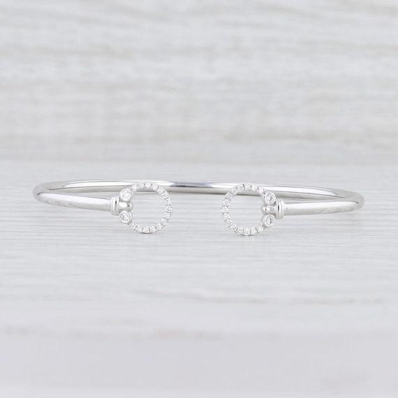 "Diamond Cuff Bracelet, White Gold Bracelet, 6.5"" C"