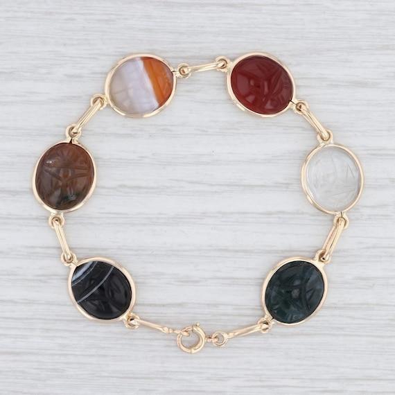 Carved Scarab Bracelet, Scarab Gemstone Bracelet,