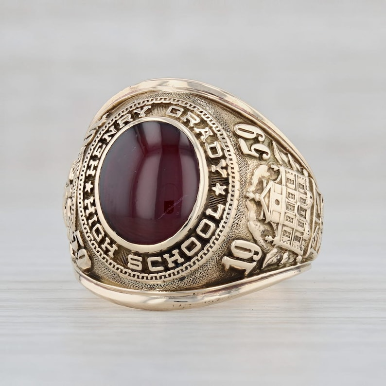 Size 12 Ring Class of 1959 Henry Grady High School Class Ring 10k Yellow Gold Ring Red Stone Ring