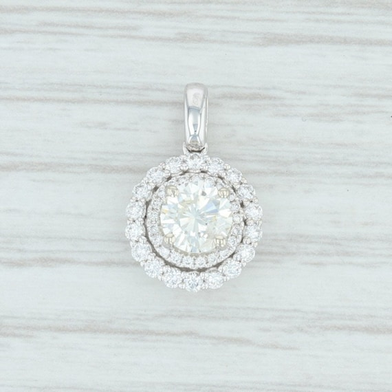 Diamond Halo Pendant, White Gold Diamond Pendant,