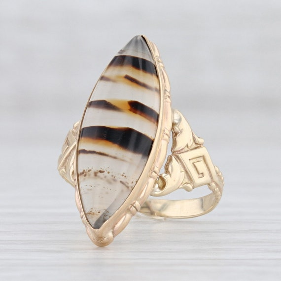 Vintage Ring, Montana Agate Ring, Chalcedony Ring,