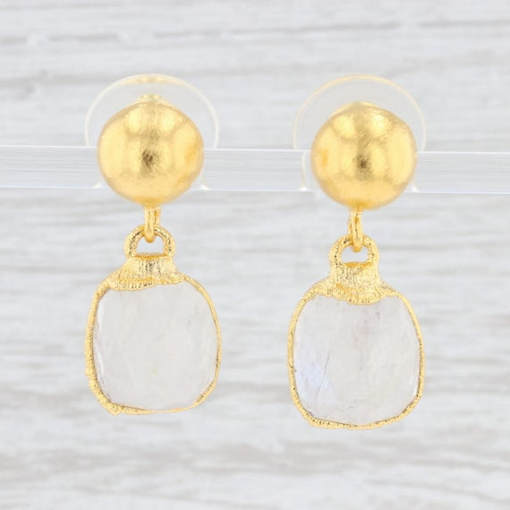Gold Vermeil and Sterling Silver 1.25 inch Rose Quartz Earrings with Moonstone Smokey Quartz