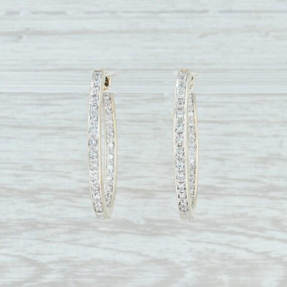 Diamond Hoop Earrings, Pave Diamond Hoop Earrings,