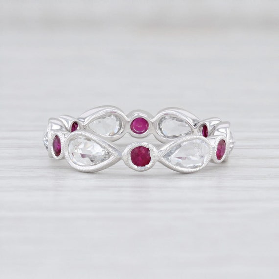 Red Ruby White Sapphire Stackable Ring 14k Gold Et