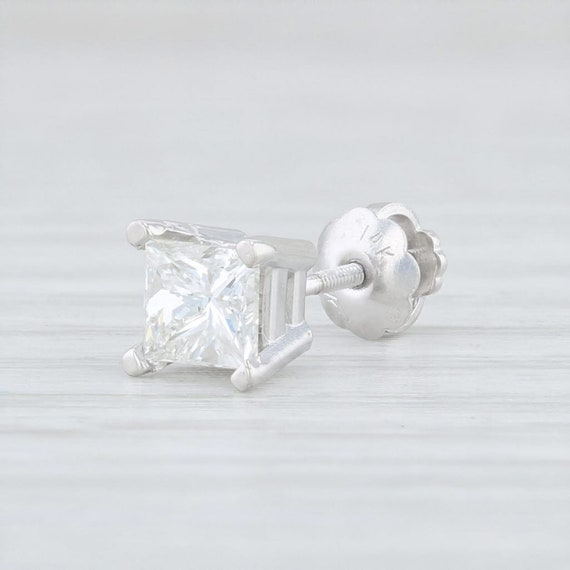 Single Diamond Stud, Single Diamond Earring, Whit… - image 1