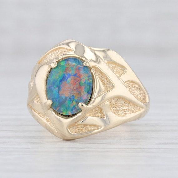 Opal Triplet Ring, Opal Statement Ring, Yellow Gol