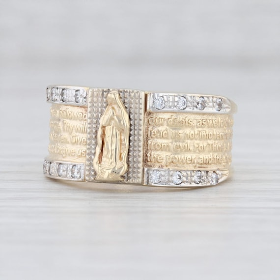 Virgin Mary Ring, Lord's Prayer Ring, Yellow Gold