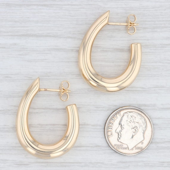 Oval Hoop Earrings, Yellow Gold Hoops, Pierced Ea… - image 4