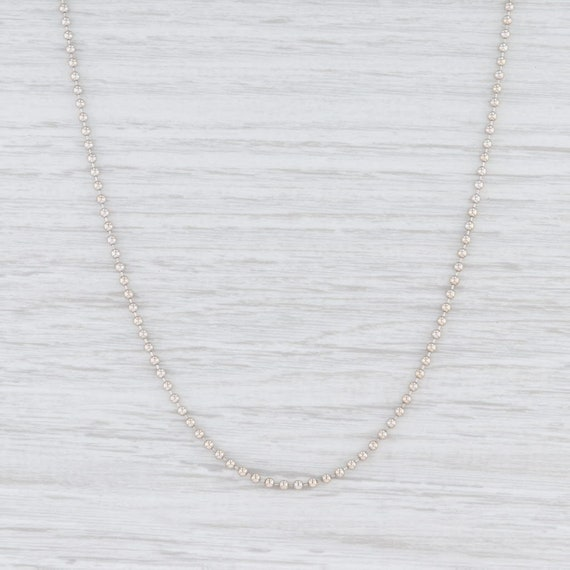 "Bead Chain Necklace, White Gold Necklace, 20.75"" C"