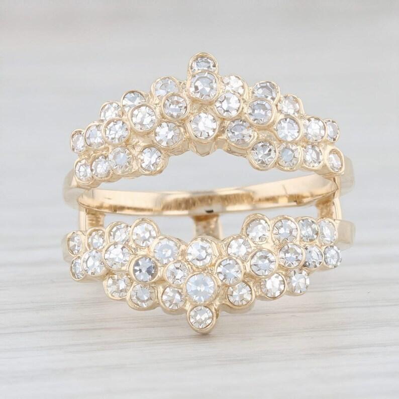 Diamond Cluster Ring Enhancer Gemstone Ring Guard 14k Yellow Gold Ring Size 6.75 Ring Jacket