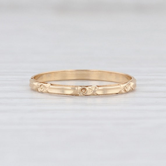 Vintage Floral Ring, Yellow Gold Ring, Size 6 Ring