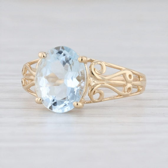 Aquamarine Solitaire Ring, Yellow Gold Ring, Size